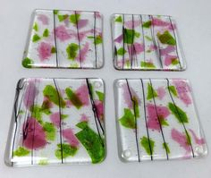 Fused Glass Coasters with Rose Pink and Iridescent Leaf Green - set of 4 Glass Fusion Ideas, Glass Coasters, Fused Glass, Artsy Fartsy, Pink Roses, Pink And Green, Glass Art, Art Inspo, Iridescent