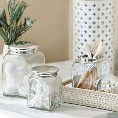 bathroom decoration with glass jars