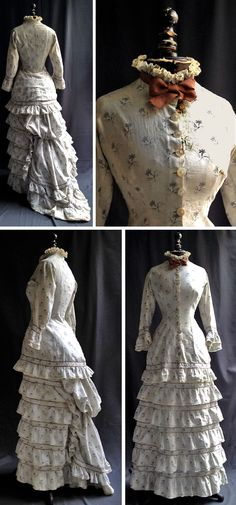 Day dress, circa 1880s. Gray print on cream-colored cotton. Multi-tiered skirt with ruffles and edging. Bustle and train. Via Vickie Garden Antiques.