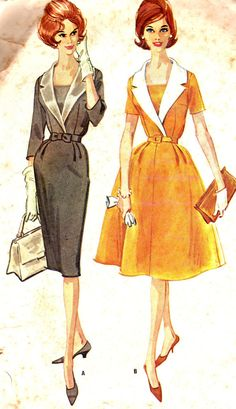 Vintage Sewing Pattern 1960s McCall's 5932 Plus Size Mad Men Wide Collared Dress with Slim or Full Skirt Size 22 1/2 Bust 43