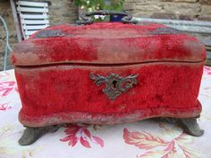 Antique Art Nouveau Style Red Velvet Jewelry Case Brass