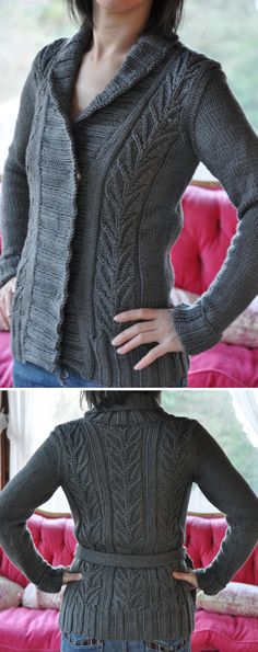 Free Knitting Pattern for Starsky Cardigan - Shawl collar wrapped front sweater with leaf lace on front and back with belt. Bulky weight yarn. Chest: 40.5 (44.5, 47.5, 52.5, 57.5) inches. Designed by Jordana Paige for Knitty. Pictured project by jettshin