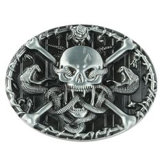 Senmi Brand Black Leather Skull & Crossbones Belt Buckles Unique New Cool Western Mens Vintage Belts Buckles