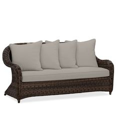 Pottery Barn Torrey Roll-Arm Sofa Cushion Slipcover ($349) ❤ liked on Polyvore featuring home, outdoors, patio furniture, pottery barn, outdoor garden furniture, woven outdoor furniture, outdoor patio furniture and outdoors patio furniture