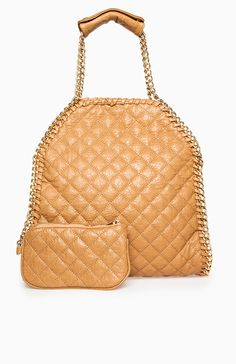 Chain Trim Quilted Tote $45