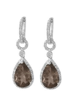 $34.99 - 6.5 Carat Smokey Topaz and 1/10 Carat Diamond Earrings in Silver