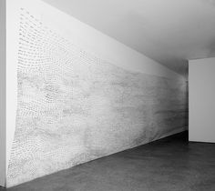 Fiona Banner Wp Wp Wp, Indian ink on wall, Dimensions variable Installation view: Yorkshire Sculpture Park, 2014 Fiona Banner, Yorkshire Sculpture Park, Farm Projects, Artistic Installation, Abandoned Buildings, Line Drawing, Typography, Ink, Drawings