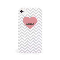 iPhone 4 and iPhone 4S Chevron Heart Moustache Case - Chevron Gusto Case | Sodacase.com