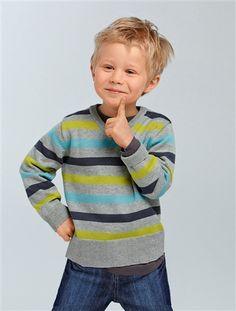 Camisola às riscas com decote em V para menino