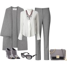 grey by natalyag on Polyvore featuring polyvore, fashion, style, Chloé, Valentino, Reiss, Yves Saint Laurent, Henri Bendel, Fannie Schiavoni and Vogue