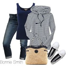 """Striped hoodie"" by bonnaroosky on Polyvore"