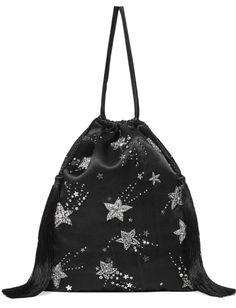 Gilda Ambrosio, Joan Smalls, Drawstring Backpack, Naomi Campbell, New Bag, Red Carpet Fashion, Black Satin, Front Row, Fashion Show