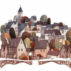 Wonderful #watercolor #illustration by Ira Sluyterman van Langeweyde (@iraville_de on Twitter) of a lovely little town built upon what I think are some rolling hills. From this vantage point poised at the top of a well at the entrance to town the cute homes rise and fall over the hills providing an interesting layered scene for the viewer. I love the varying palette of colors; the colors of the homes and the architecture both change as you move up the hills passed the charming stands of…