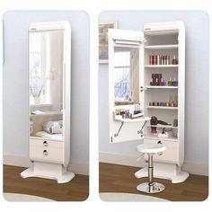 New makeup vanity mirror diy dressing tables ideas Mirrored Bedroom Furniture, Bedroom Dressers, Closet Bedroom, Bedroom Decor, Mirror Bedroom, Master Bedroom, Bedroom Lighting, Bedroom With Vanity, Vanity Room