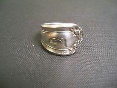"Astoria 1898 size 9-1/2 handmade Spoon ring #266, Silverplate, Monogramed ""T"""