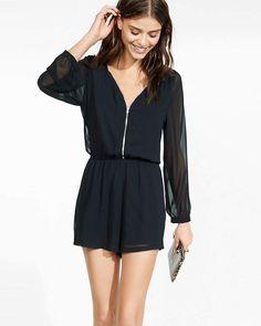 f3e71f9892c0 Long Sleeve Zip Front Romper Black Women s X Small