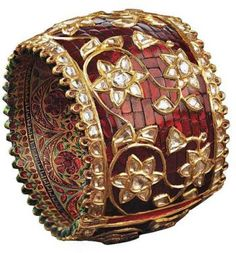 gorgeous ruby and uncut diamond bangle from jaipur gems