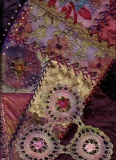 Detail of Crazy Quilt showing embroidery | Flickr - Photo Sharing!