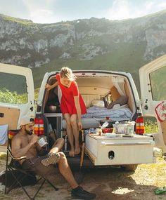 #LadyInRed  Repost from @vanilla.icedream  #VanCrush Camping Trailer Diy, Vw Camping, Bus Life, Camper Life, Pop Up Shop, Popup Camper Remodel, Minivan Camper Conversion, Truck Tent, Van Storage