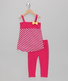Take a look at this Pink Stripe Tunic & Leggings - Infant, Toddler & Girls by Coney Island Kids on #zulily today!