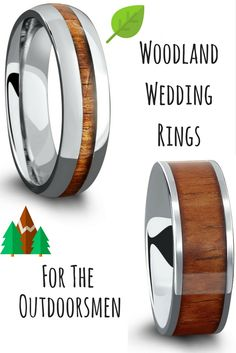 Mens wood wedding rings. A wedding ring for the outdoorsmen. Made with a part of nature. Genuine koa wood. Durable and waterproof.