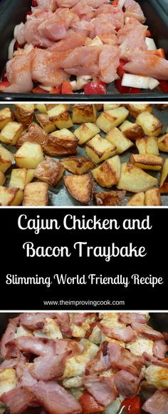 Chicken and Bacon Traybake Cajun Chicken and Bacon Traybake- great for a quick weekenight dinner and Slimming World Friendly too!Cajun Chicken and Bacon Traybake- great for a quick weekenight dinner and Slimming World Friendly too! Slimming World Dinners, Slimming World Diet, Slimming Eats, Slimming Recipes, Slimming World Cajun Chicken, Actifry Recipes Slimming World, Slimming World Recipes Syn Free Chicken, Iceland Slimming World, Slimming World Lunch Ideas