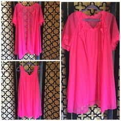 VTG VANITY FAIR SHORT PINK NIGHT GOWN PEIGNOR SET Beautiful condition! No rips or stains. Circa 60's Vintage. Has gorgeous lace trimming. The length of the gown and short sleeve robe is 37in long, bust of gown is 36in, and the sleeve length of the robe is 12in. See pic 2 for details of lace trim. Both are very flowy. Tag says XS but I think by todays measurements size would be a  small to medium. Vintage Intimates & Sleepwear Robes