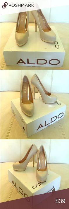 Aldo 100% genuine leather pumps in cream Brand new, never been worn, in box 100% genuine leather Aldo pumps in cream with gold detailing. Can easily be dressed up or down for work or a fun night out. Platforms so they are comfortable to walk and dance in. Every girl needs the perfect pair of nude heels in her closet! Aldo Shoes Heels
