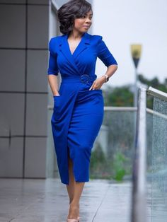 Wholesale Temperament OL Style Lapel Pocket Dresses With Belt EHG092845  0ef50aa75