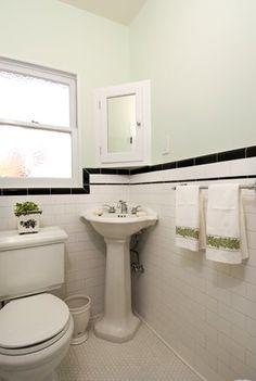 Hex Tile Floor + Subway Tile Walls