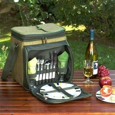 Picnic at Ascot 526-FO Eco Picnic Cooler for 2 - Natural Weave-Forest Green