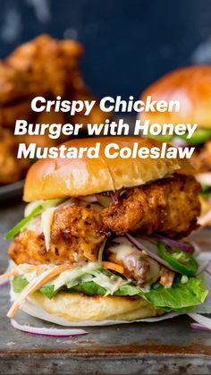 Crispy Chicken Burgers, Chicken Sandwich, Easy Cooking, Cooking Recipes, Healthy Recipes, Big Burgers, Potlucks, Suppers, Wrap Sandwiches