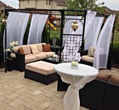 Beautiful outdoor space-love the curtains!