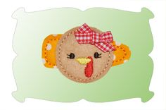 This sweet lil' turkey felt snap clippie arrives just in time for Thanksgiving! Look for our coordinating applique design!
