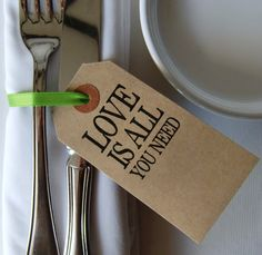 Rustic Wedding Table Decor-Wedding Place Cards-Love Is All You Need-Vintage Shabby Chic Luggage Tag-Set of 50-Unique Wedding Favors-Name Tag...