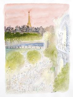 illustration of man drinking champagne while looking at paris skyline- jean-jacques sempé, artist and poet- MY FRENCH COUNTRY HOME Illustration Parisienne, Illustration Art, Country Engagement, Fall Engagement, Engagement Pictures, Engagement Shoots, Engagement Photography, My French Country Home, New Yorker Covers