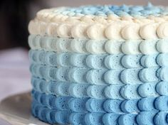 Blue Ombre Petal Cake  #Brit.co