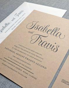 NEW Isabella Script Recycled Kraft Wedding Invitation Sample