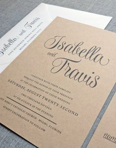NEW Isabella Script Recycled Kraft Wedding Invitation