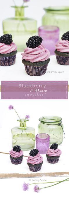 Baking with Honey: Blackberry & Honey Cupcakes by FamilySpice.com