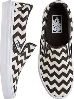 Vans Chevron Print Slip On Shoes Women's. Description: A chevron print canvas upper is built a-top a vulcanized waffle sole, while the easy to-use slip on design makes these shoes an instant favorite. Pretty Shoes, Cute Shoes, Me Too Shoes, Converse, Chevron Shoes, Tenis Vans, Vanz, Nike Shoes Outlet, Nike Shox