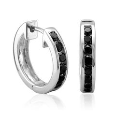 0.50 carat Black Diamond Hoop Huggies Earrings in 14k White Gold