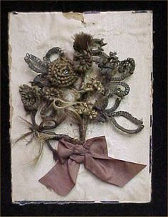 Vintage Antique Victorian Late 1800s Mourning Hair Art Flowers Signed Corsage