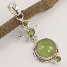 Stunning Pendant 925 Sterling Silver Jewelry Natural PREHNITE & PERIDOT Gemstone #Unbranded #Pendant