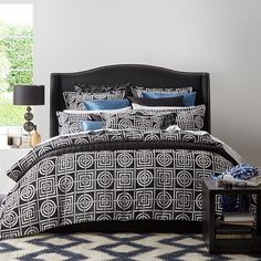 Circles & Squares Charcoal Quilt Cover Set | More Sizes Available by Bedding & Accessories on THEHOME.COM.AU