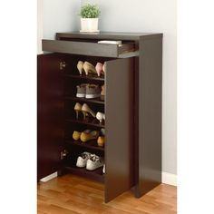 Create additional comfort and storage in your entryway by selecting this Furniture of America Reyel Red Cocoa Shoe Cabinet. Shoe Storage Cabinet With Doors, Shoe Cabinet Design, Closet Drawers, Closet Shelves, Cabinet Drawers, Cabinet Furniture, Storage Drawers, Entryway Storage, Storage Cabinets