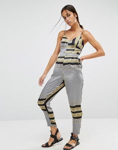 4ca4ae9b917 River Island Scarf Print Jumpsuit With Tapered Leg