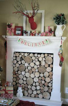 Christmas mantel faux fireplace