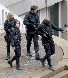 Katniss, Boggs, Gale, and Cressida