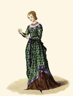 Fashion and Costumes from the 15th century . Renaissance period clothing. Laura de Noves or Laure de Sade, 1330.